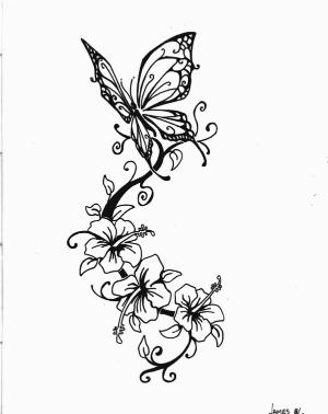 f8976d0bb Flower Vine With Butterfly Tattoo Stencil By Ericka