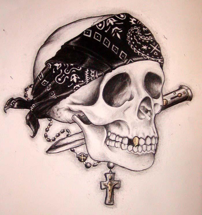 Gangster Sketches: 36+ Latest Gangster Skull Tattoos