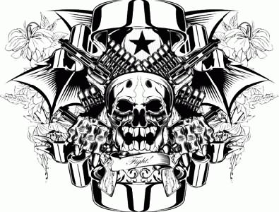 Gangster Skull With Two Crossing Gun And Banner Tattoo Design
