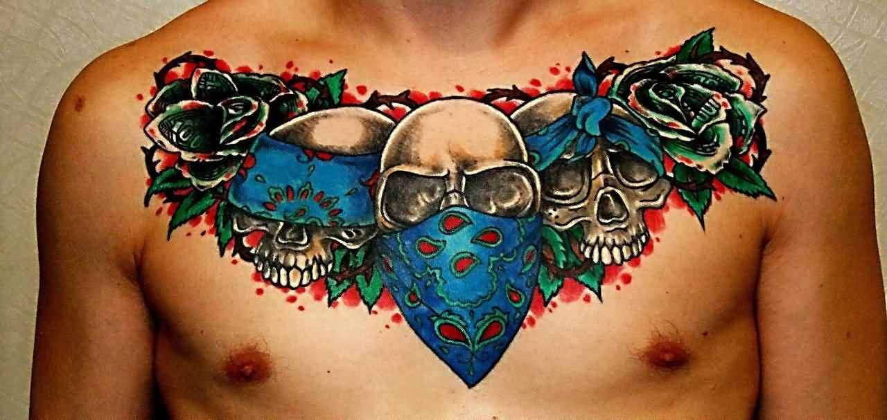 gangster skulls with roses tattoo on man chest. Black Bedroom Furniture Sets. Home Design Ideas