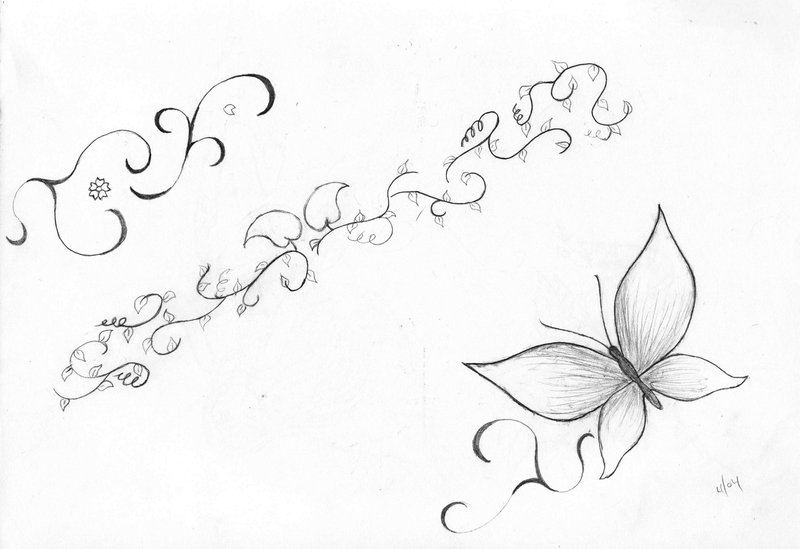 grey ink butterfly with vine tattoo designmohee311