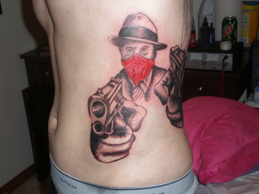 Gun In Gangster Hand Tattoo On Man Side Rib By Matt Saiko