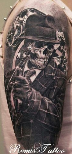 Gun In Mexican Gangster Skull Tattoo On Half Sleeve By Remigijus Cizauskas