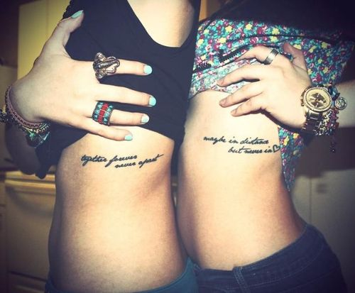 Matching Friendship Tattoos On Girl Side Rib