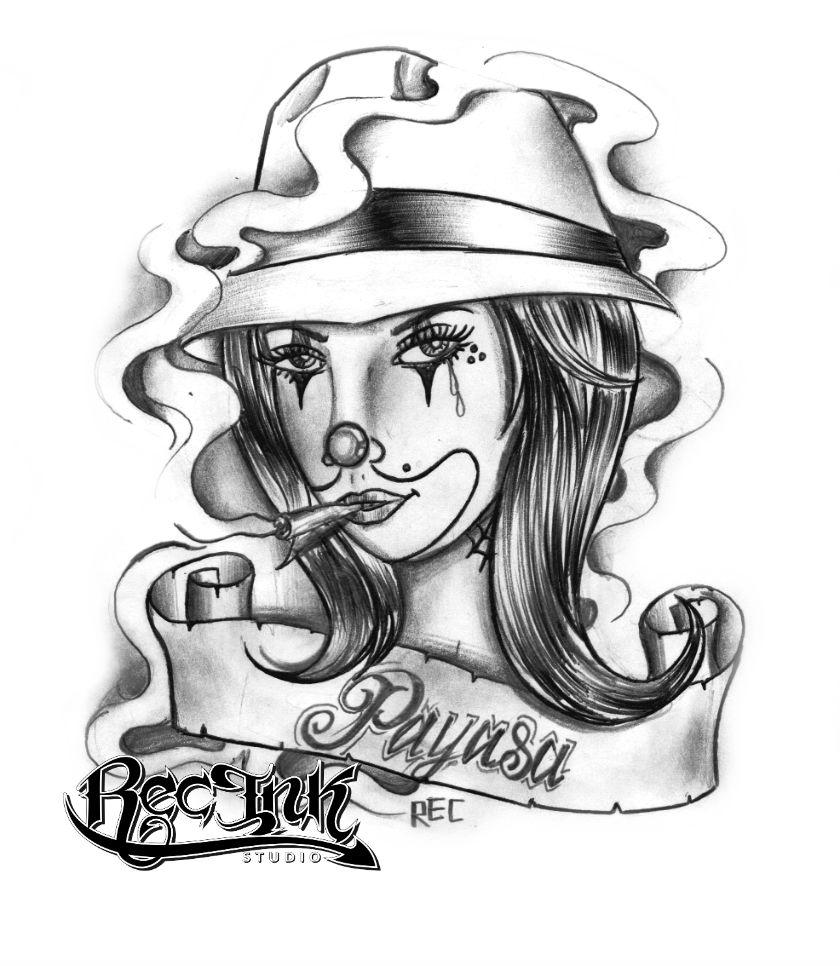 smoking gangster girl with banner tattoo design by jose hernandez rec. Black Bedroom Furniture Sets. Home Design Ideas