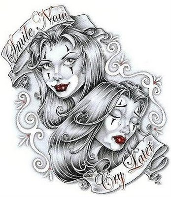 19 Gangster Clown Girl Tattoo Images And Designs