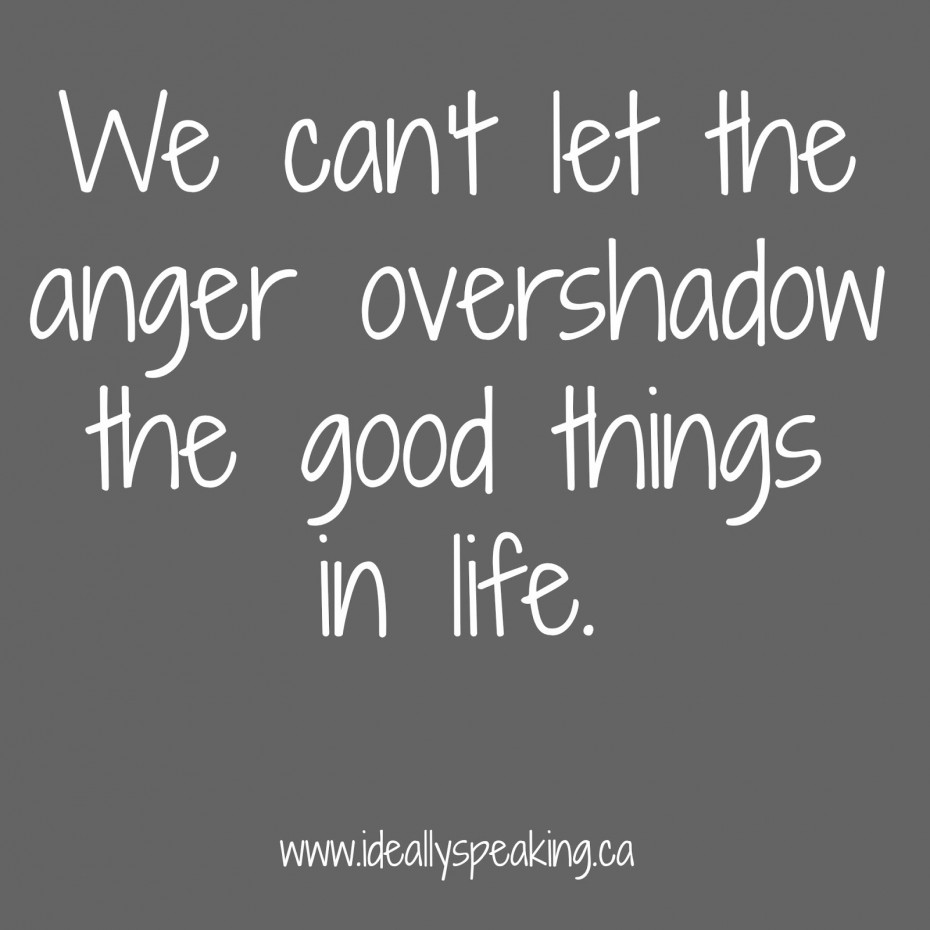 Quotes About Anger And Rage: We Cant Let The Anger Overshadow The Good Thing In Life
