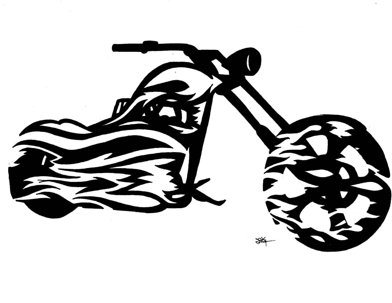 2f7b2c290cc2c Amazing Black Tribal Motorcycle Tattoo Design Sample