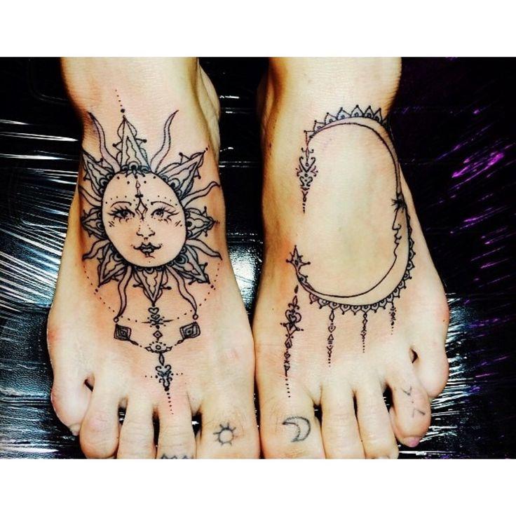 Amazing Hippie Sun And Half Moon Tattoo On Both Feet