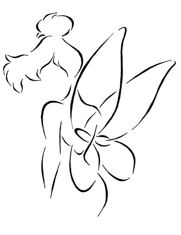 30 outline tinkerbell tattoos for Black and white tinkerbell