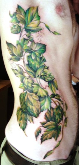 60f2d36ef Awesome Leaves Vine Tattoo On Man Side Rib