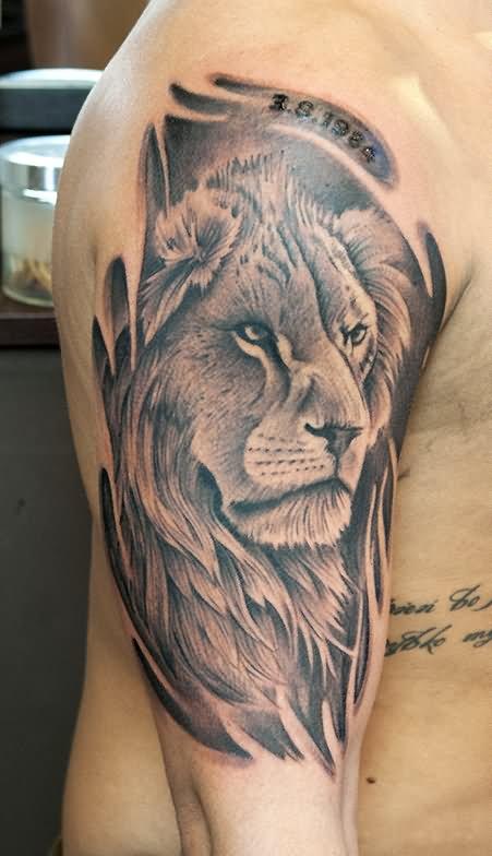 394c4aeeb3018 ... Design For Sleeve By Jun Cha. Black And Grey Leo Tattoo On Man Right  Half Sleeve