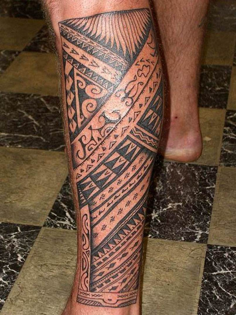 21 amazing hawaiian band tattoos for Polynesian thigh tattoo