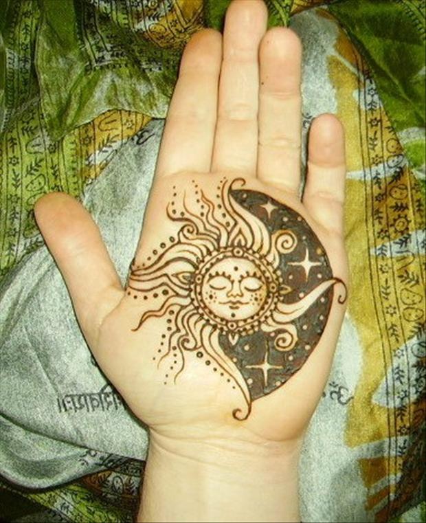 Black Hippie Sun Tattoo On Hand Palm