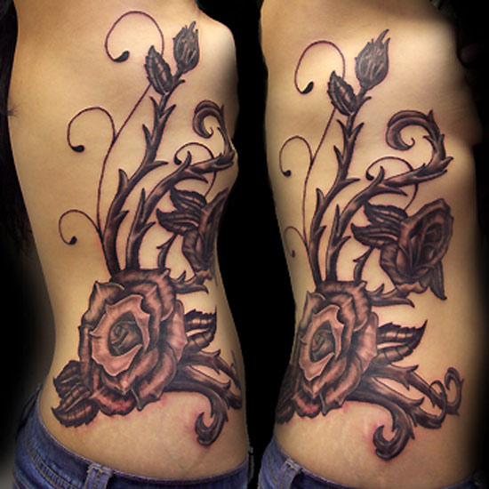42d8497a2 Black Ink 3D Flowers Vine Tattoo On Man Side Rib