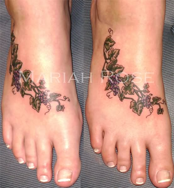 black ink grape vine tattoo on foot rh askideas com Grape Vine Drawings Grape Vine Drawings