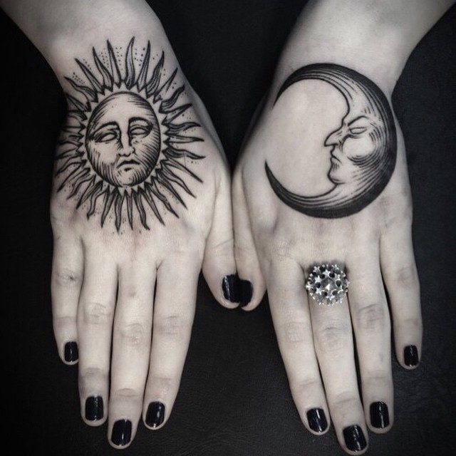 Black Ink Hippie Sun And Half Moon Tattoo On Girl Both Hand
