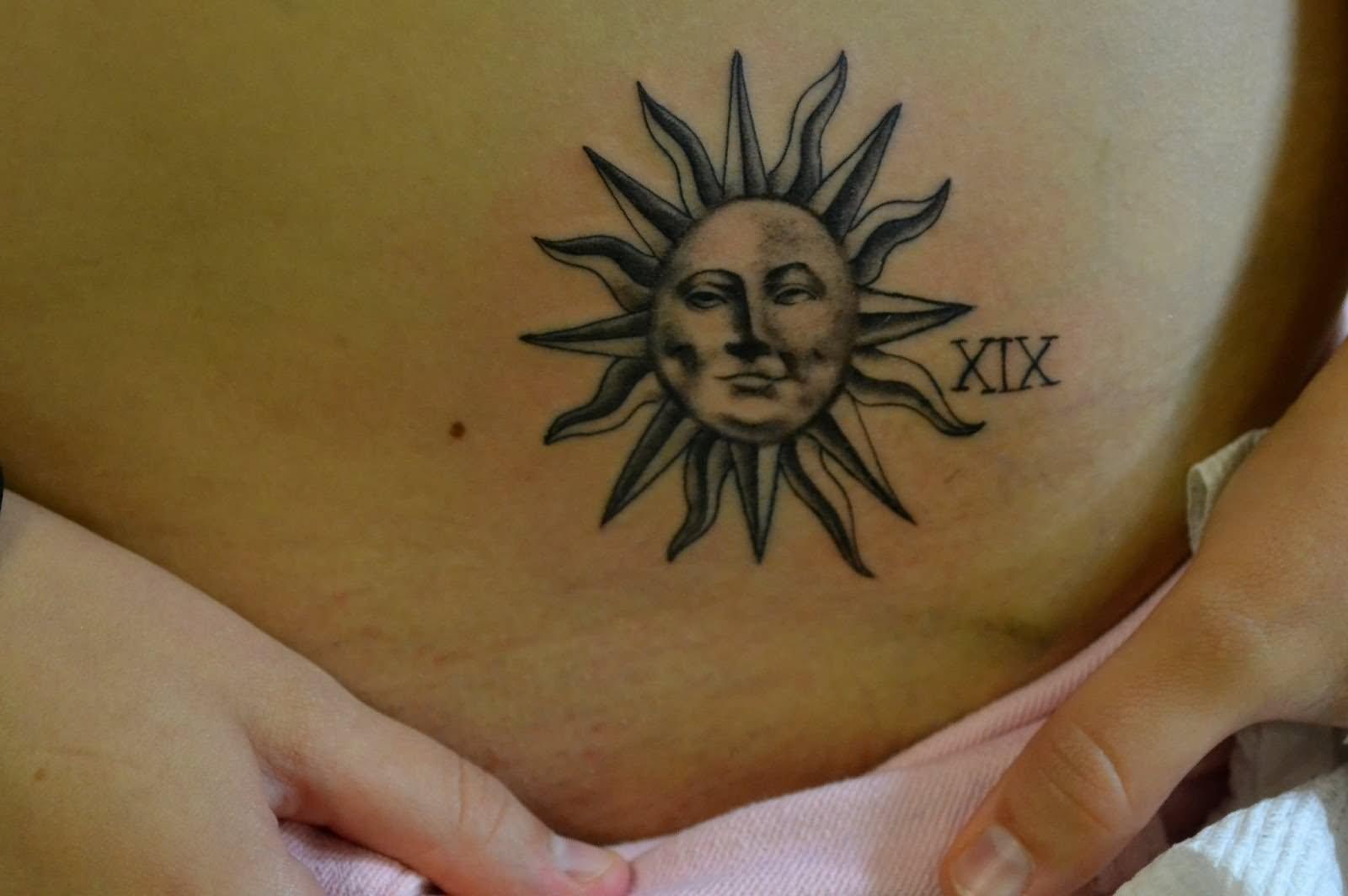 Black Ink Hippie Sun Tattoo Design For Waist