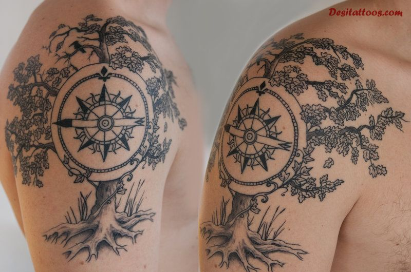 Black ink hippie tree with compass tattoo on right shoulder by timo