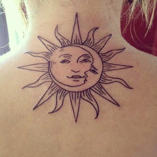 Black Outline Hippie Sun Tattoo Design For Back Neck