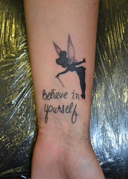 13 tinkerbell tattoos with quotes. Black Bedroom Furniture Sets. Home Design Ideas