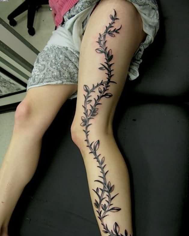 527ed1ad8 Black Vine Tattoo On Girl Left Full Leg
