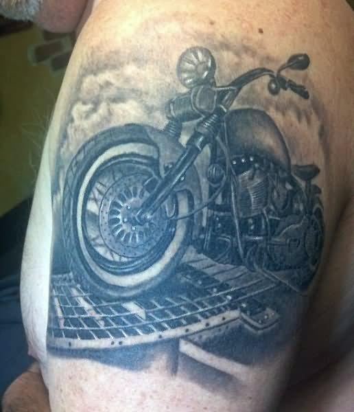 13 motorbike tattoos on shoulder. Black Bedroom Furniture Sets. Home Design Ideas