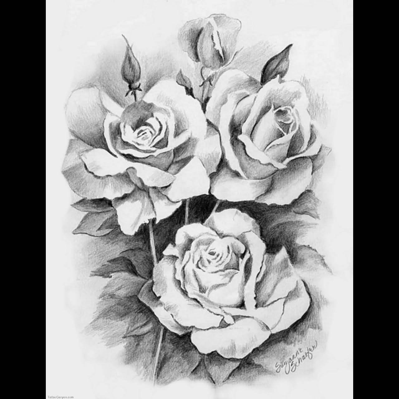 a50b4c5cd Grey Ink 3D Roses Vine Tattoo Design For Men