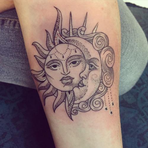 Grey Ink Hippie Sun With Half Moon Tattoo Design For Sleeve