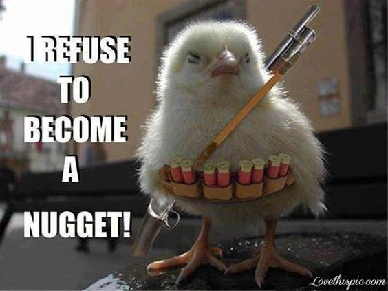 Chicken Wings Funny Meme: I Refuse To Become A Nugget Funny Chicken Meme Picture