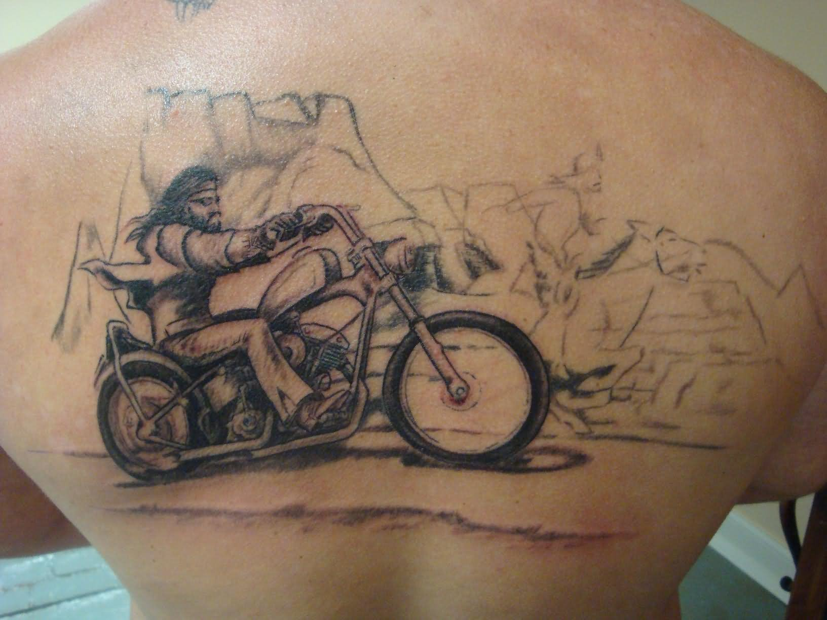 5512169ea Man Riding Motorcycle Tattoo On Back By Roger