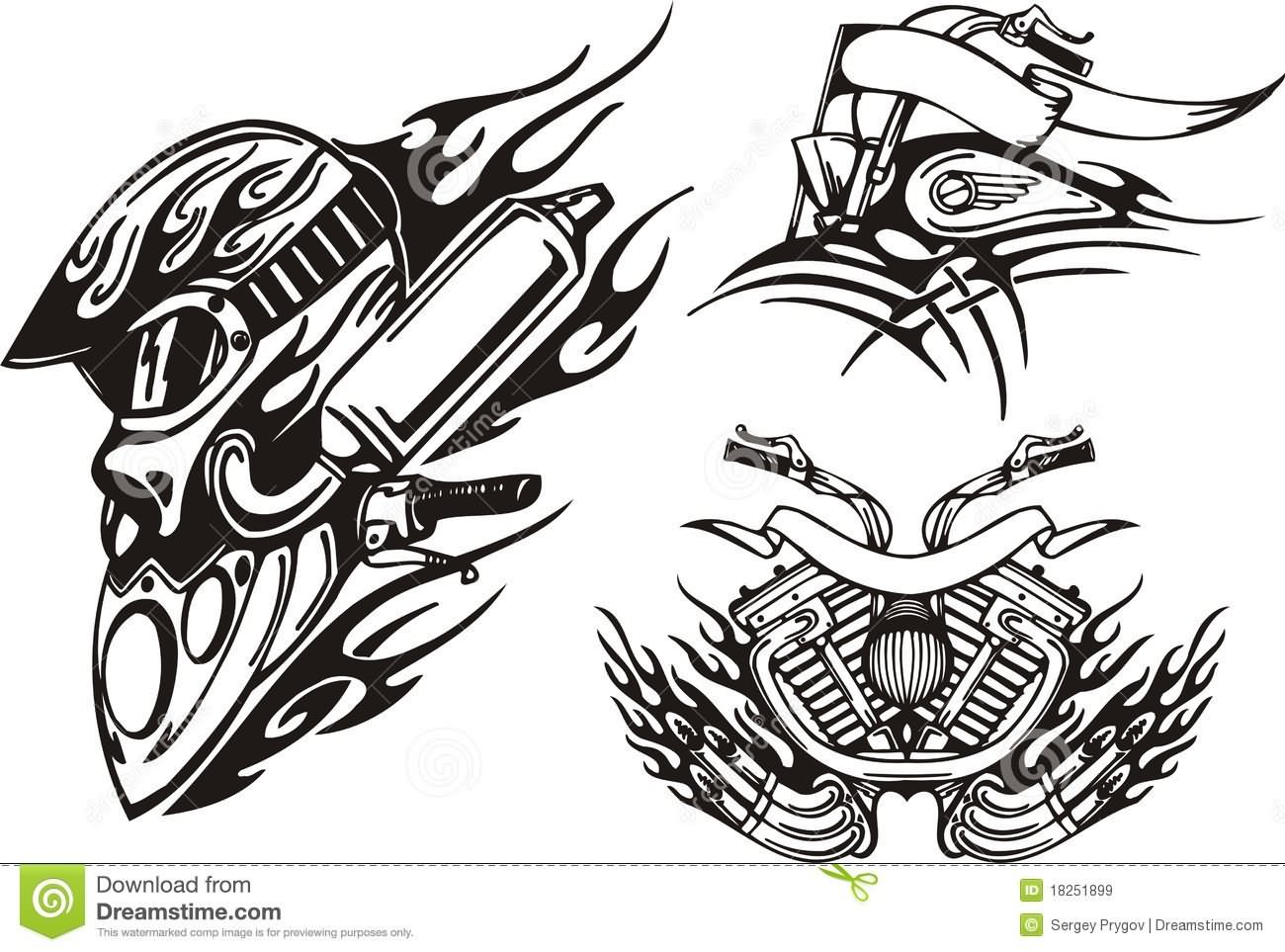 31d82316bf491 Motorcycle Tribal Engine Tattoo Designs