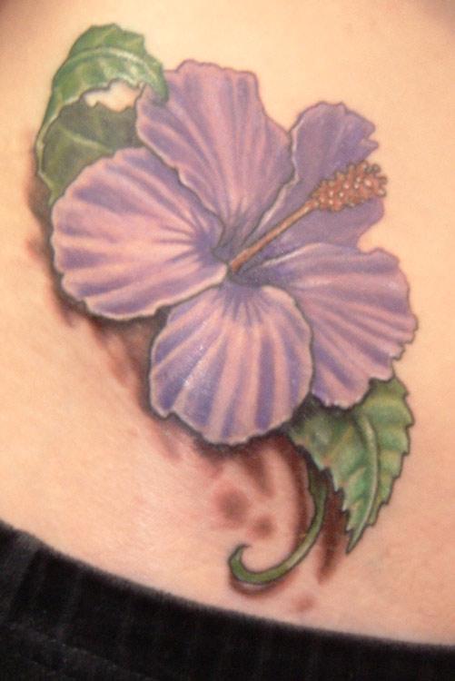 a50a6a5bd Purple Hawaiian Flower Tattoo Design For Side Rib