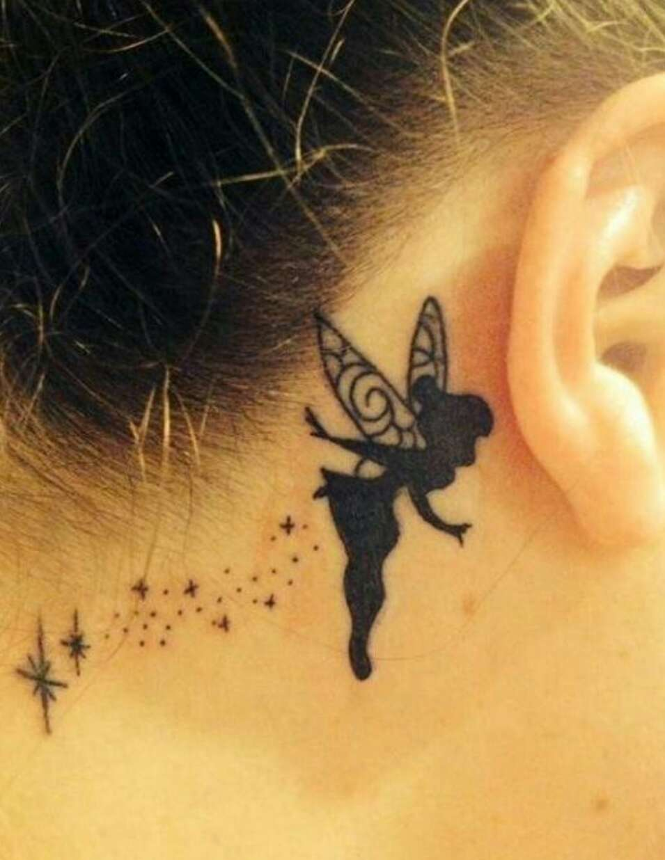 16 tinkerbell silhouette tattoos for Female silhouette tattoo