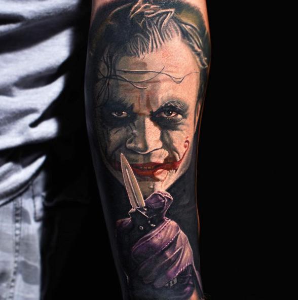 3d joker tattoo on left forearm by nikko hurtado for The joker tattoo