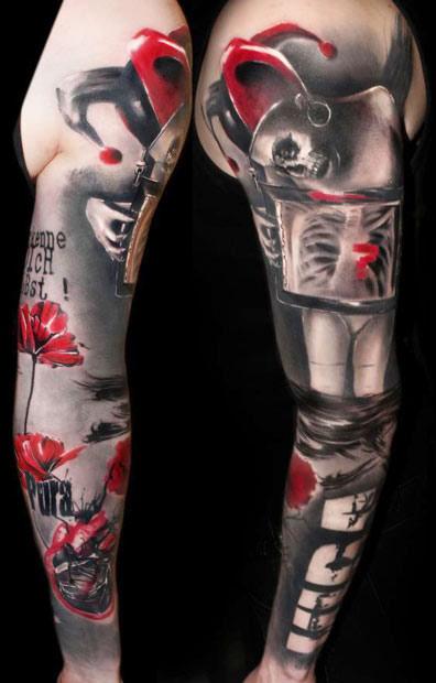 Abstract Joker Tattoo On Full Sleeve By Buena Vista