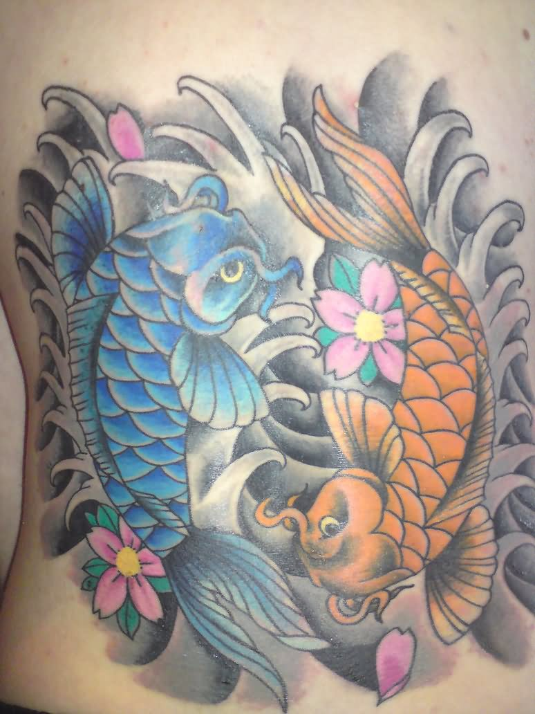 23 yin yang fish tattoos for Koi fish yin yang tattoo