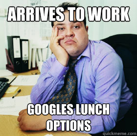 Arrives To Work Googles Lunch Options Funny Office Meme Picture For