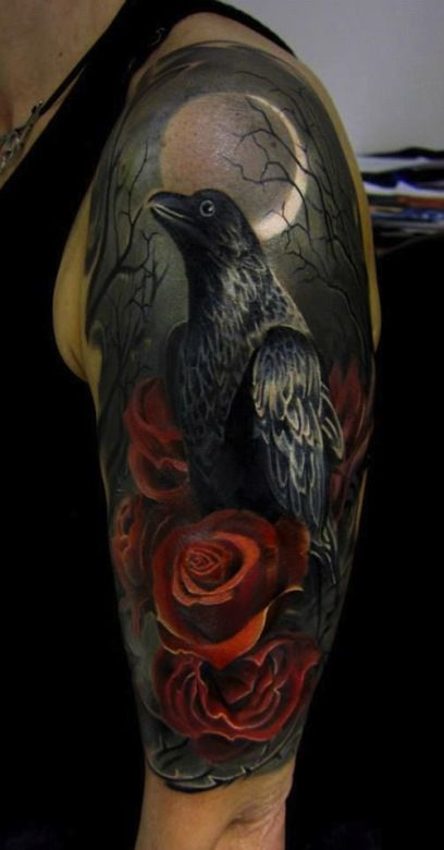 40 raven tattoos on sleeve. Black Bedroom Furniture Sets. Home Design Ideas