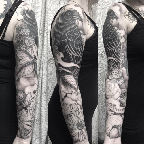 40 raven tattoos on sleeve for Black and grey sleeve tattoos