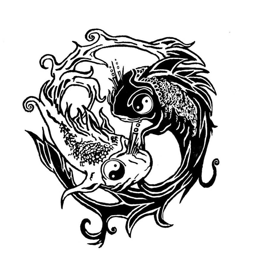 30 yin yang fish tattoo designs. Black Bedroom Furniture Sets. Home Design Ideas