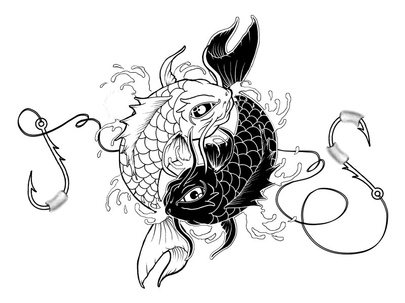 30 yin yang fish tattoo designs for Black and white coy fish