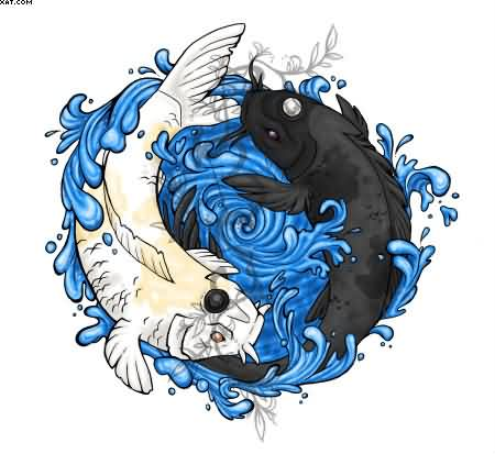 30 yin yang fish tattoo designs for Yin and yang koi fish