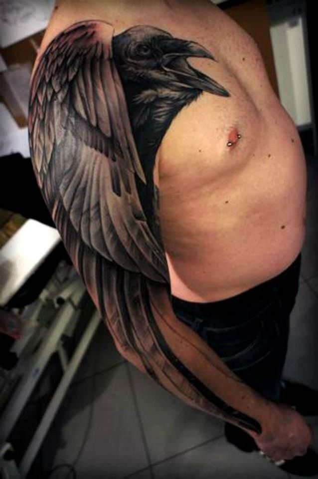 35 Odin S Raven Tattoo Designs Images And Pictures