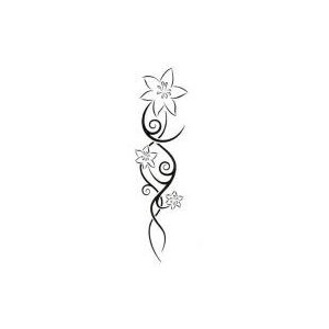 Black Outline Feminine Flowers Tattoo Stencil