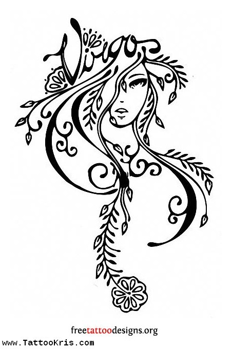 Black Outline Feminine Girl Face Tattoo Design