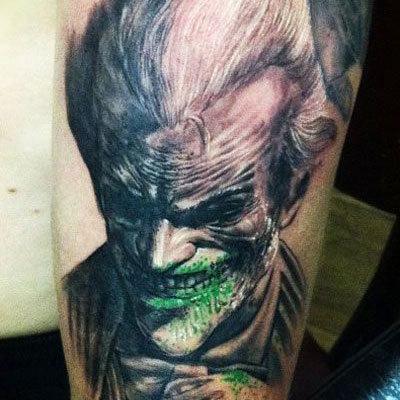c77dc6605 Bloody Grin of Joker Tattoo On Sleeve