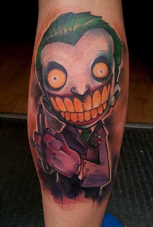Nice joker tattoos on leg