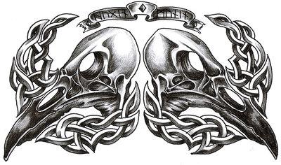 8 hugin and munin tattoo on stomach by tarotshama for Celtic skull tattoo