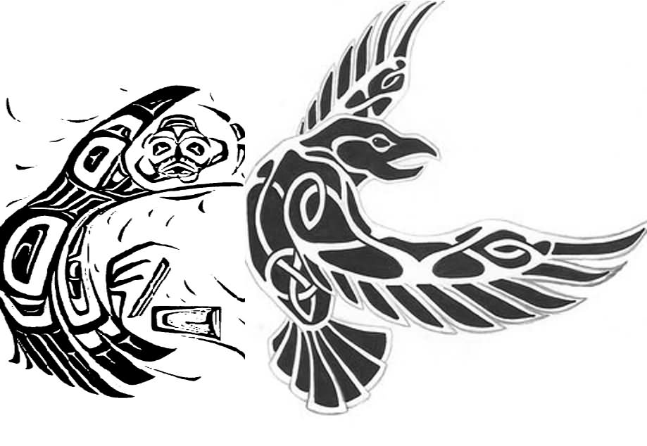 35 odin�s raven tattoo designs images and pictures